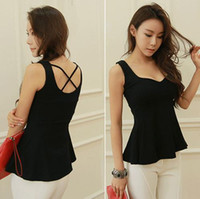 Wholesale Top Quality Women s Summer Sexy Cotton V Neck RuffleTank Top Black Sleeveless Solid Patchwork Back Cross T Shirt
