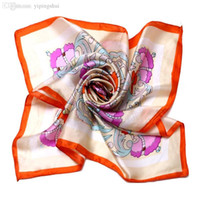Wholesale LING CM Square Pure Small Silk Scarf Fashion Exquisite Foulard Women Satin Head Scarves Brightly Colored Bandana XF88014