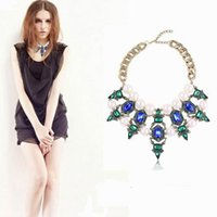 Wholesale New Style Women Rhinestone Bubble Bib Statement Necklace Imitation Pearl Jewelry Chokers Necklace For Party Presents XL5497