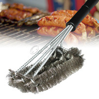 Wholesale 45cm Length Black Grill Brush BBQ Barbecue Cleaner Brushes in Head Design Plastic handle Steel Wire