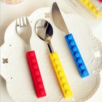 Wholesale 100 sets Snack and Stack Building Block Utensil Set with locking Silicone Handles fork knife spoon