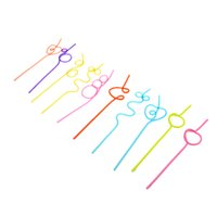 Wholesale 10pcs set Colorful Straw Crazy Curly Loop Coloured Drinking Straws for Birthday Party