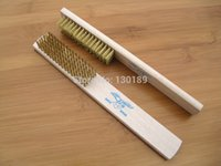 Wholesale high grade Wooden handle brass wire brush cleaning brush scrubbing brush removing paint rust