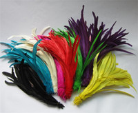 Wholesale 10 Colors Grizzly Rooster Tail Feathers Rooster Feather Wedding Party Christmas Decor Diy Feather Jewelry Craft Findings cm