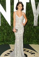 fair white - 2015 Selena Gomez Prom Dresses Vanity Fair Flawless Silver summer Evening Dresses with Lace Mermaid dresses
