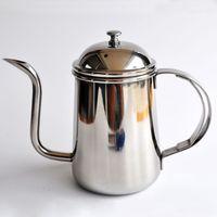 advanced pots - High quality stainless steel coffee pot advanced thin mouth pot L silver palace pot hand punch pot follicular pot BH