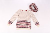 Wholesale Baby Children s Turtleneck Cardigan Sweaters Ang scarf Dot Patckwor Geometric Girls England Security Give Child Best Christmas Gift