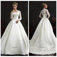 Wholesale Amelia Sposa A Line Empire Wedding Dresses Long Sleeve Royal Bridal Gowns Lace Appliques Elegant Fashion Custom Vestidos De Novia