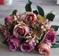 Wholesale European Fake Roses cm quot Length Artificial Silk Roses Money Grass Foam Fruit Small Flowers Stems for Wedding Flower