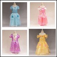 beauty tale - Girls princess dresses Kids girl cartoon Tangled Rapunzel Cinderella Sleeping beauty Belle cosplay costumes dress clothing J102701 DHL FREE