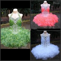 Wholesale model short flower girl dress top dimonds ruched organza cupcake dress toddler pageant gown Flower Girls Dresses