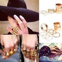 Cheap 9PCS Set Urban Punk Golden stack Plain Cute Above Knuckle Ring Band Midi Rings for Women Men Party Accessories 02KL