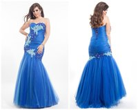 Wholesale Mermaid Royal Blue Plus Size Prom Dresses Appliqued Beaded Sequined Tulle Floor length Backless Long Evening Dress SL0090