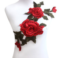 Wholesale Red Green Flower Trim Venise Applique Motif Embroidered Collar Trimming Sew on Patches Sewing Accessories piece T1397