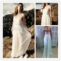 Cheap Sexy Tulle Sheer Neckline Lace Beach Boho Wedding Dress Backless Bridal Dress for Beach Wedding 2015