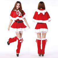 Wholesale Women Voile Lining Christmas Dresses Velvet Santa Claus Costumes Xmas Party Mini Dress Waistbelt Hooded Poncho Cape Stockings