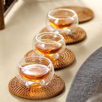 Wholesale 6 heatproof ml Glass tea set double layer glass cup Double wall tea cups double layer cup coffee cup