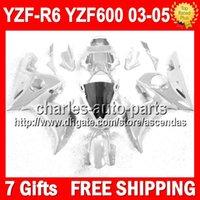 achat en gros de yamaha kits de corps carénages-7gifts + tous les YZFR6 de Q93103 YZF 600 brillant argenté Silver corps pour YAMAHA YZF R6 2003 2004 2005 YZF-R6 03-05 03 04 05 YZF600 YZF-600 Kit de carénage