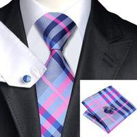SN-467 gris oscuro azul rosado de la tela escocesa del lazo del pañuelo de las mancuernas 100% Establece lazos de seda de los hombres por los hombres del partido formal de la boda del novio