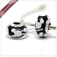 Cheap 5pcs S925 Sterling Silver Black Classic Mickey Charm Murano Glass Beads Fit European Woman Jewelry pandora Charm Bracelets & Necklaces ZS306