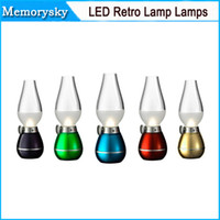 Wholesale LED Retro Lamp Lamps Novelty Lighting USB Rechargeable Blowing Kerosene Adjustable Blow On Off Night Light Home Decroration by DHL