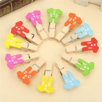Wholesale Mini Wooden Clothes Shaped Clips Peg Photo Postcard Wedding Room Table Decor Chic Clothespin Craft bag