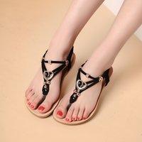 Wholesale New Arriving Gladiator Sandals for Women Bohemia Beaded Summer Flower Flat Heels Flip Flops Women s Shoes Tstraps Sandals L13