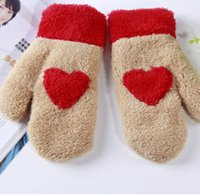 Wholesale New Fashion Chic Women Girl Heart Pattern Mittens knitted Winter Warmer Plush Full finger Mittens Hand Gloves Fashion Accessories gifts