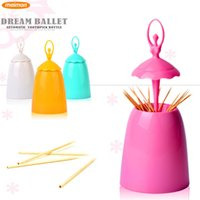 Wholesale 2015 Creative Design Ballet Dancer Automatic Toothpick Holder Home Table Decorative Plastic Toothpick Box Tooth Pick Holder