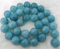 aquamarine precious stone - 14mm Brazilian Aquamarine Semi precious stones Round Loose Beads quot Strand