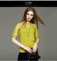 beautiful knitted clothing - Spring Fashion short sleeve lady clothes beautiful lace women shirt