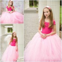 Wholesale Pink Ball Gown Tulle Skirts For Girls Kids Children Custom Made Floor Length Birthday Tutu Pettiskirts For Flower Girls Dresses