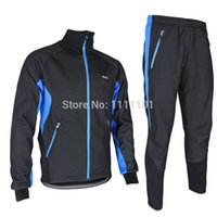 warm up jackets - 2015 new ARSUXEO men s Winter Warm Up Thermal Cycling Bike Bicycle Jacket Pant Uniform Bib Pad Windproof Waterproof Thermal