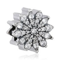 Wholesale 925 Sterling Silver Charms Charm Ice Crystal with Clear Cubic Zirconia Beads for DIY Pandora Style Bracelets Jewelry