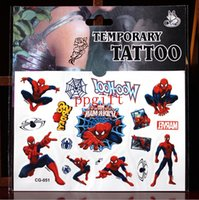 Wholesale Cartoon Spiderman tattoo sticker Water transfer temporary tattoo kids Anchor star