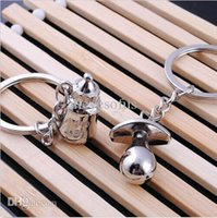 Wholesale Fashion Valentine s day Couple Lovely Baby Pacifiers Feeding Bottle Keychain Keyring Cute Birthday Key Fob Gift