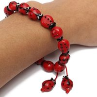 Wholesale New Arrival strings Red Ladybug Lampwork Glass Beads Jewelry Finding order lt no track