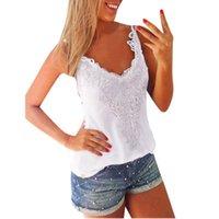 Cheap Summer Style 2015 Plus Size S-5XL Women Tank Top V-Neck Lace Patchwork Slim Bodycon Sexy Women Casual Shirt blusa de renda