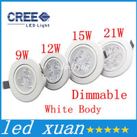 Cheap CREE white body LED 9W 12W 15W 21W DIMMABLE Cold   Warm White LED Recessed Cabinet Ceiling Downlight AC85-265V For Home Lighting Decoration