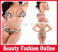 discount bathing suits - Discount Triangl Swimsuit Bandeau Swim Leopard Bikinis Set Animal Print Swimwear Women Low Waist Bathing Suit Push up Trikini
