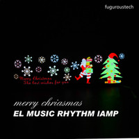 Wholesale Christmas Led Car Sticker Lights Voice Music Rhythm induction Lamp EL Sheet