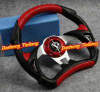 auto spare parts - Universal PU Leather Stitching Sport JDM Auto Car Racing Steering Wheel Red Spare Parts and Accessories Replacements M27641