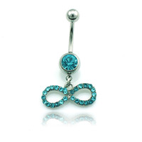 bell bow - Newly Hot Sale Fashion Navel Rings Stainless Steel Rhinestone Bow Glyph Navel Piercing jewelry