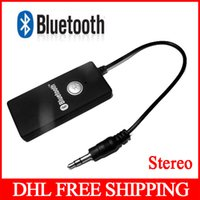 Wholesale 300pcs Bluetooth Transmitter Stereo HiFi A2DP Stereo Audio Dongle Connector mm Receiver Audio Dongle Adapter Free DHL