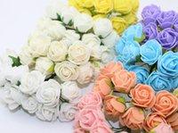 Wholesale Fashion Hot cm head Multicolor PE rose foam mini flower Bouquet solid color Scrapbooking artificial rose flowers