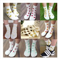 Wholesale 9styles pairs Korean cartoon yellow duck apple banana sunflower cotton socks women meias casual fruit printed socks