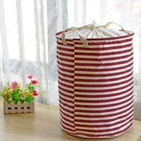 beautiful laundry - 1pcs Beautiful Red White Stripe Designs Hemp Drawstring Hemp Laundry Basket Bedside Clothes Organizer Home Decor Toy organizador