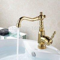 Wholesale 8 Inch European Style Kitchen Swivel Brass Faucet Golden Polished Finish Golden Mixer Tap BF