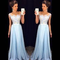 al caps - 2016 New Arrival Blue Cheap Prom Dresses Sheer Crew Neck Cap Sleeves Lace Appliques Bow Belt Chiffon Al line Evening Gowns Party Gowns