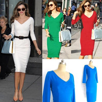 Wholesale 2015 Cheap Miranda Kerr Street Style Dresses Long Sleeves Sheath V Neck Pencil Dresses Knee Length Work Dresses A10